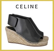 CELINE Leather Platform & Wedge Sandals