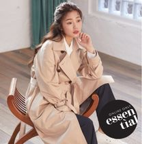 SPAO Stand Collar Coats Casual Style Street Style Plain Long