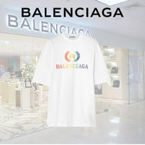 BALENCIAGA Crew Neck Plain Cotton Short Sleeves T-Shirts