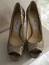 Jimmy Choo Open Toe Blended Fabrics Plain Pin Heels Party Style