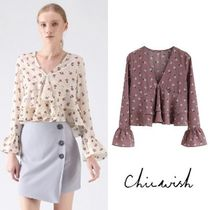Chicwish Flower Patterns Casual Style Long Sleeves Shirts & Blouses