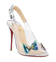 Christian Louboutin Open Toe Blended Fabrics Other Animal Patterns Pin Heels