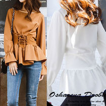 Lace-up Casual Style Nylon Long Sleeves Plain