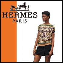 HERMES Cable Knit Silk U-Neck Medium Short Sleeves Knitwear