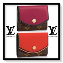 Louis Vuitton Monogram Blended Fabrics Plain Leather Folding Wallet