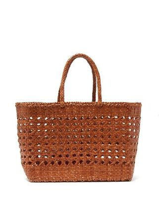 Street Style Plain Leather Straw Bags