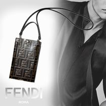 FENDI Monogram Unisex Street Style Leather Smart Phone Cases