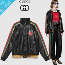 GUCCI Short Plain Leather Varsity Jackets