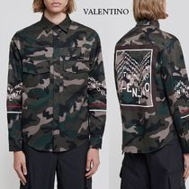 VALENTINO Camouflage Long Sleeves Cotton Logos on the Sleeves Shirts