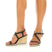 Calvin Klein Open Toe Plain Leather Platform & Wedge Sandals