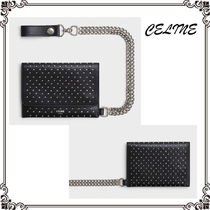 CELINE Calfskin Studded Street Style Chain Plain Folding Wallets