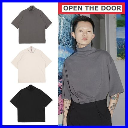 OPEN THE DOOR More T-Shirts Unisex Street Style Plain Cotton Short Sleeves Oversized