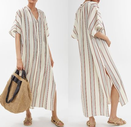 Stripes Casual Style Cotton Long Dresses