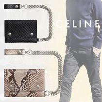 CELINE Unisex Calfskin Chain Python Folding Wallets