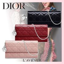 Christian Dior LADY DIOR Calfskin Blended Fabrics Chain Plain Long Wallets