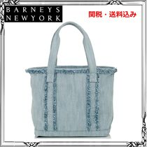 Barneys New York Casual Style Canvas Street Style A4 Fringes Totes