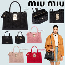 MiuMiu MATELASSE Lambskin 2WAY Plain With Jewels Elegant Style Handbags
