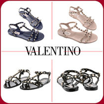 VALENTINO Open Toe Casual Style Leather Shoes