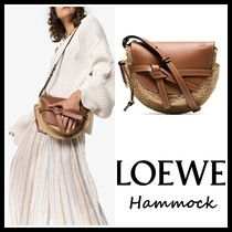 LOEWE GATE Casual Style Blended Fabrics Plain Leather Shoulder Bags