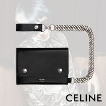 CELINE Calfskin Chain Plain Folding Wallets