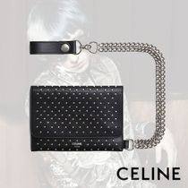CELINE Dots Calfskin Chain Folding Wallets