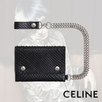 CELINE Calfskin Chain Python Folding Wallets