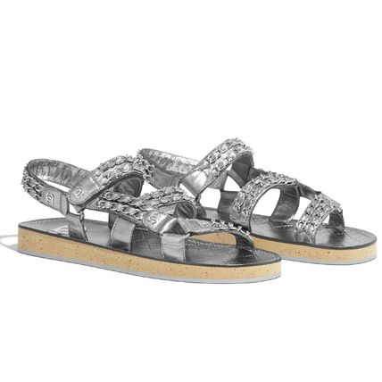 CHANEL Flat Platform Casual Style Chain Plain Leather Footbed Sandals 4