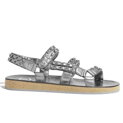 CHANEL Flat Platform Casual Style Chain Plain Leather Footbed Sandals 5