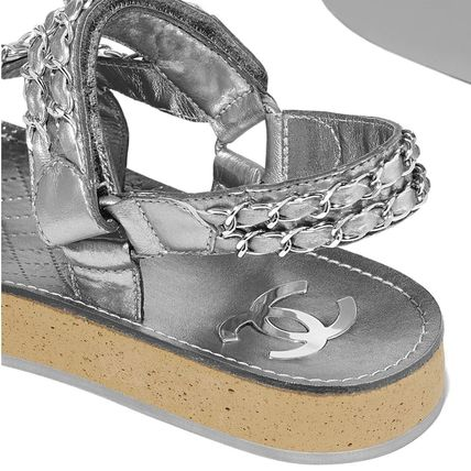 CHANEL Flat Platform Casual Style Chain Plain Leather Footbed Sandals 6