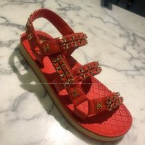 CHANEL Platform Casual Style Chain Plain Leather Footbed Sandals