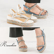 Open Toe Platform Casual Style Blended Fabrics Studded