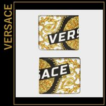 VERSACE Tropical Patterns Leather Folding Wallets