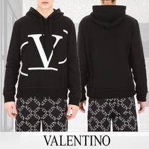 VALENTINO Pullovers Street Style Long Sleeves Plain Cotton Hoodies