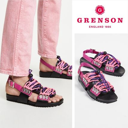 Open Toe Platform Casual Style Studded Street Style Leather