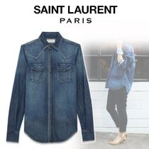 Saint Laurent Denim Long Sleeves Shirts & Blouses