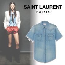 Saint Laurent Denim Short Sleeves Shirts & Blouses