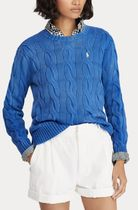 POLO RALPH LAUREN Crew Neck Cable Knit Casual Style Street Style Long Sleeves