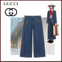 GUCCI Denim Studded Long Wide & Flared Jeans