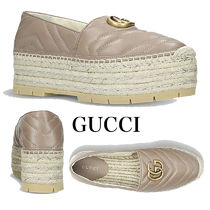 GUCCI GG Marmont Platform Round Toe Casual Style Blended Fabrics Plain