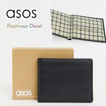 ASOS Other Check Patterns Plain Leather Folding Wallets