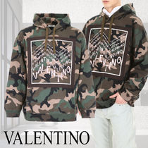 VALENTINO Camouflage Street Style Long Sleeves Cotton Oversized