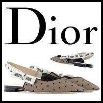 Christian Dior Dots Platform Blended Fabrics Leather Sabo Elegant Style