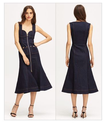 Casual Style Denim Sleeveless Flared Plain Dresses