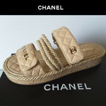 CHANEL Open Toe Platform Blended Fabrics Bi-color Plain Leather