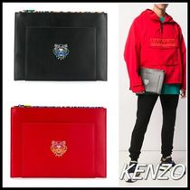 KENZO Unisex Leather Clutches