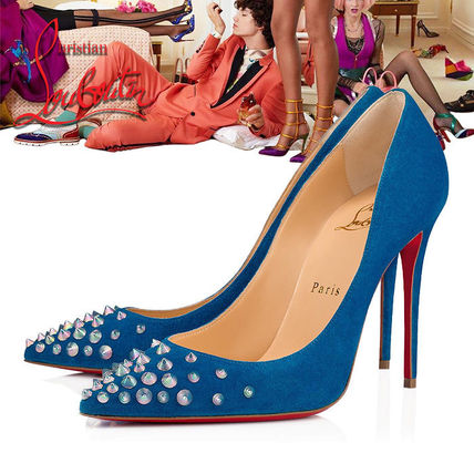 low priced a158f 8b07d Christian Louboutin Velvet Pin Heels Elegant Style Pointed Toe Pumps &  Mules (1180045U427)