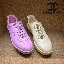 CHANEL SPORTS Casual Style Blended Fabrics Plain Leather Low-Top Sneakers