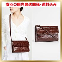 by FAR Plain Leather Elegant Style Shoulder Bags
