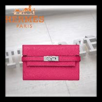 HERMES Kelly Plain Leather Long Wallets