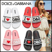 Dolce & Gabbana Heart Open Toe Rubber Sole Casual Style Leather Shower Shoes